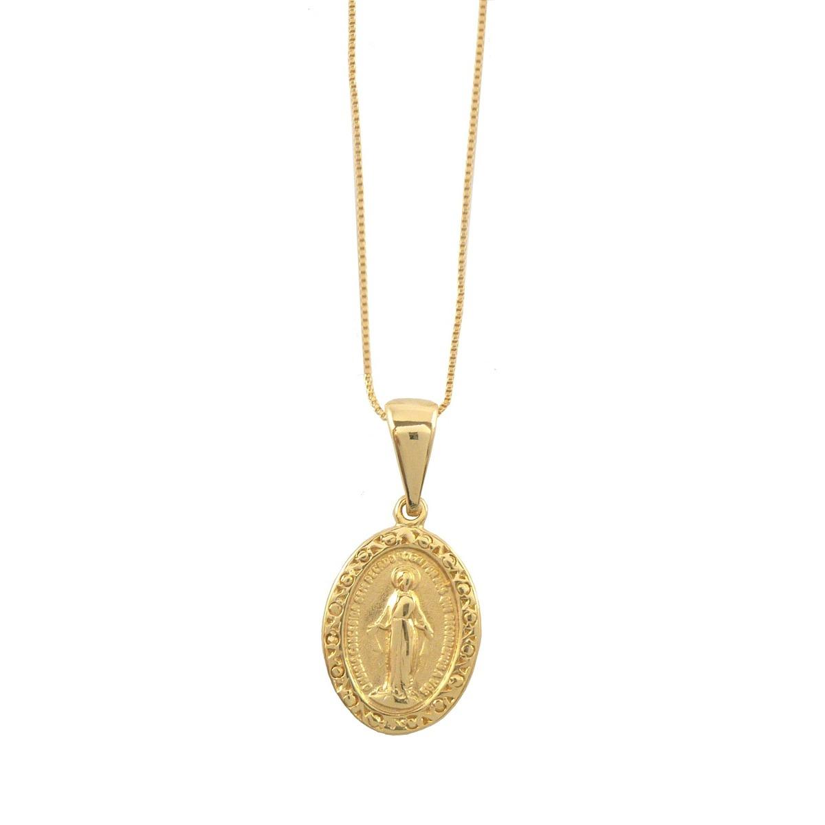 eaa6cfa080e71 Colar Pingente Medalha Nossa Senhora Das Graças Pequeno - R  87