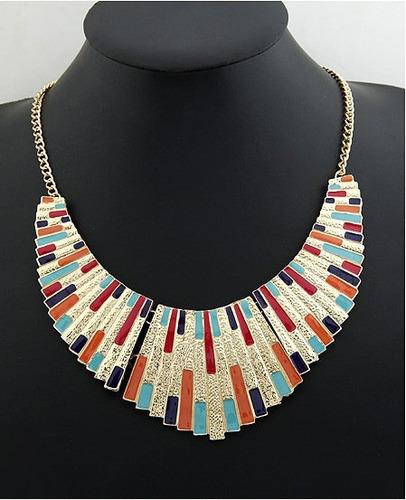 colar pingente multicolorido - frete grátis