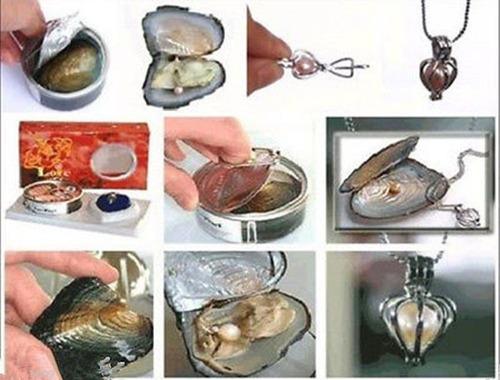 colar pingente + ostra com pérola - presente dia namorados