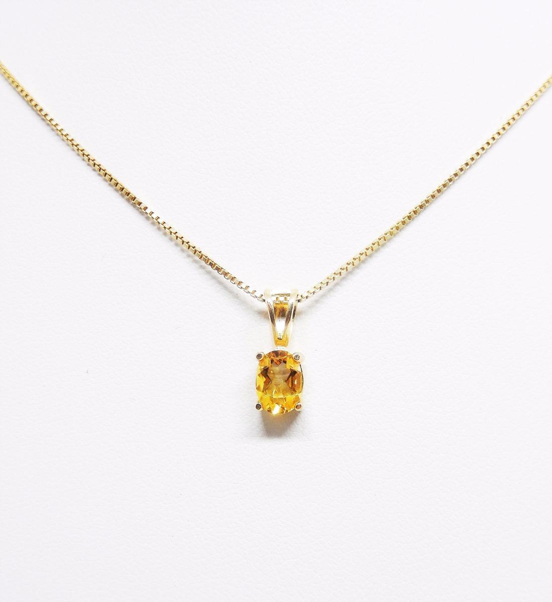 24215a8b14689 colar pingente ponto luz citrino prata 925 folheado ouro. Carregando zoom.