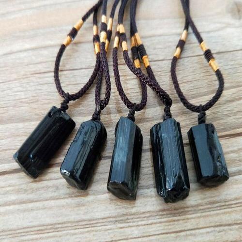 colar pingente turmalina negra regulagem cristal natural