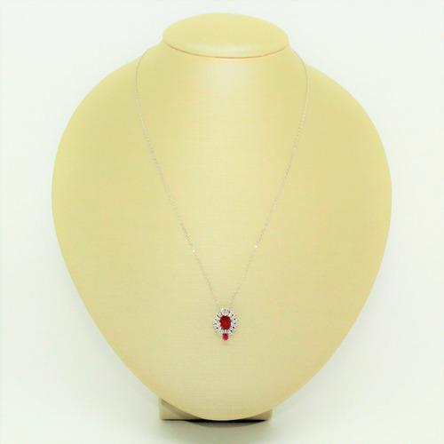 colar pingente vermelho rubi folheado ródio prata