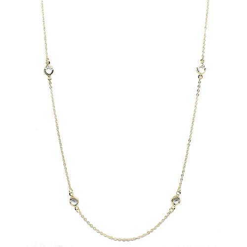 colar piuka longo cristais folheado a ouro 18k - cor: dourad