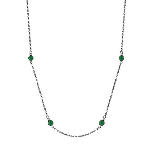 colar piuka longo tessa cristais zircônia esmeralda folheado