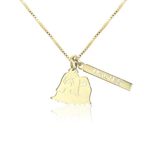 colar piuka pet maltes folheado a ouro 18k - cor: dourado -