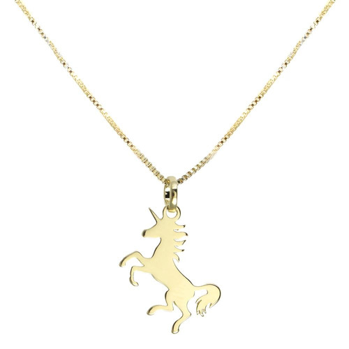 colar piuka unicórnio folheado a ouro 18k - cor: dourado - t
