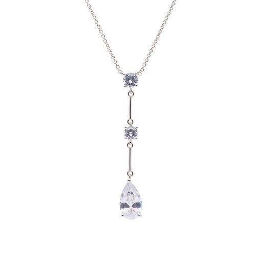 colar pêndulo ponto de luz cristal folheado ródio prata