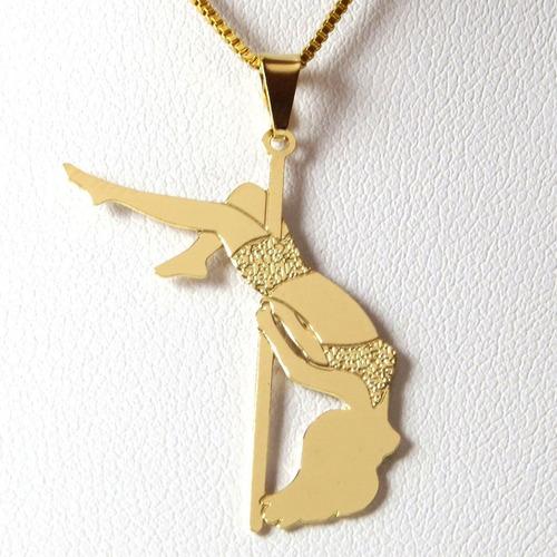 colar pole dance inversão - folheado em ouro (garantia 1...