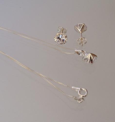 colar ponto de luz e brincos feminino prata maciça 925