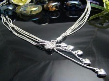 colar prata 925 esterina formato pingente 5 corações