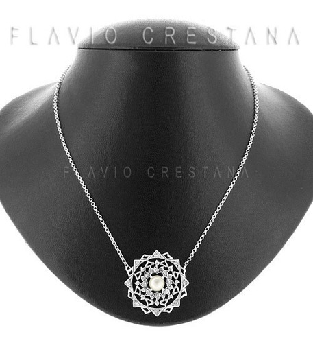 colar prata 925, mandala, madreperola natural e zirconias. f
