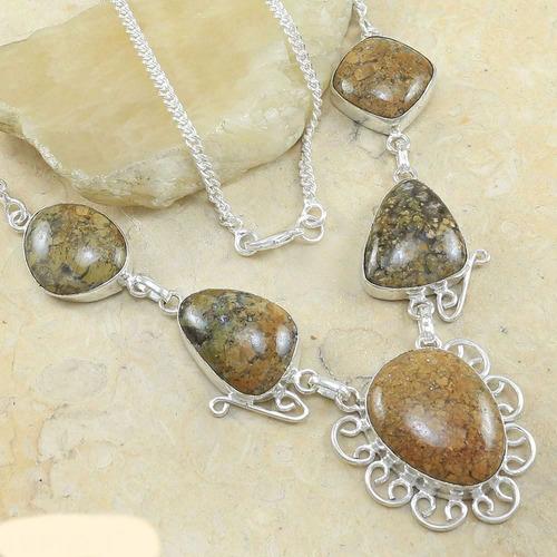 colar prata com pedra natural- jasper