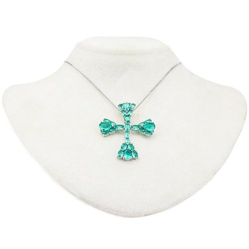 colar prata cruz esmeralda g cl020126