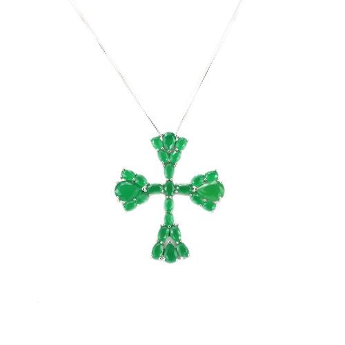 colar prata cruz esmeralda m - cl020055