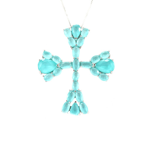 colar prata cruz turmalina leitosa m - cl020053