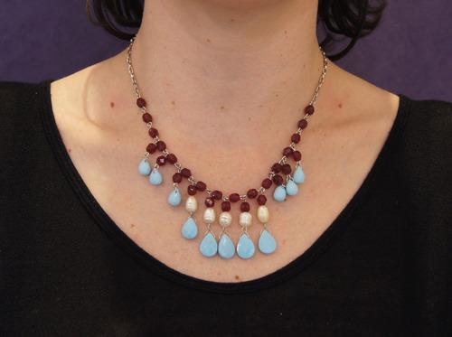 colar prateado,cristais bordo,turquesa, perola 4468 c g