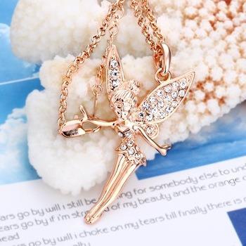 colar princesa  folheado ouro rosê c/cristais swarovski
