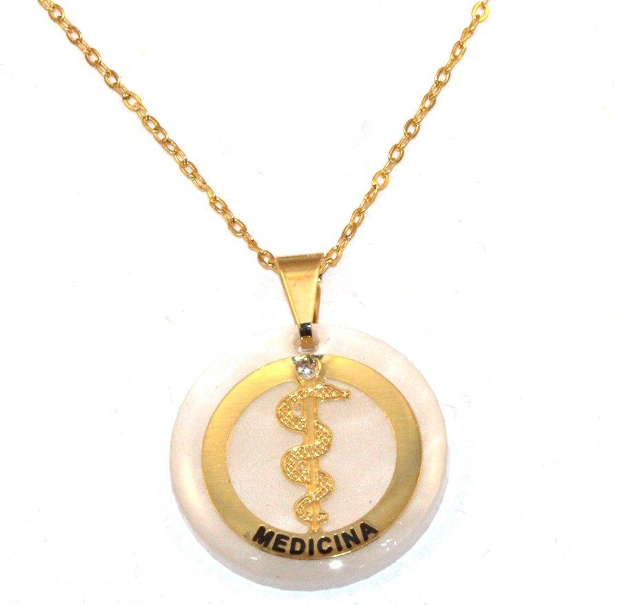 colar profissão medicina medicos saúde folheado ouro 18k. Carregando zoom. e8aa8b81f2