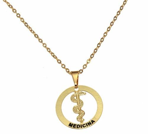 Colar Profissão Pingente Medicina Médico Folheado A Ouro - R  15,80 em  Mercado Livre e990ed1b7c