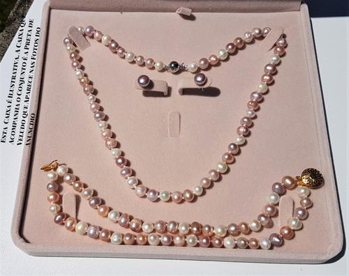 colar pulseira brinco perola branca rosa lilás b1101 +ext+cx
