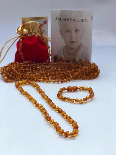 colar + pulseira de ambar infanti c/ certificado