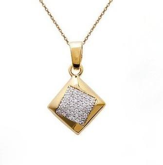 colar quadrado em ouro amarelo 18k/750 e diamantes!