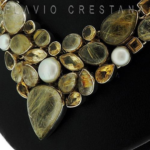 colar quartzo rutilado, perola cultivada e citrino natural,