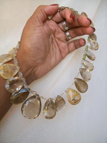 colar quartzo rutilo gotas facetadas -620ct-exclusividade!!!