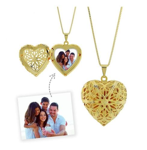 colar relicário com foto personalizado coração semijoia