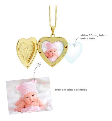 colar relicário personalizado foto coração semi joia dour