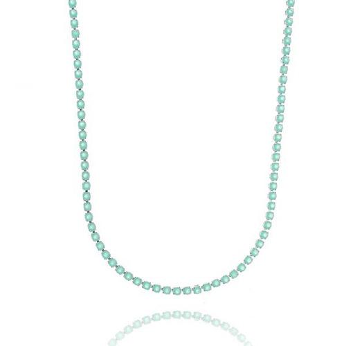 colar riviera com cristal leitoso verde claro, 14490