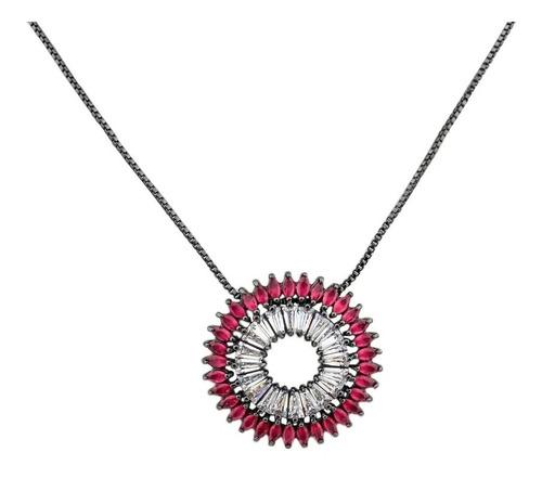 colar ródio negro comprido em zircônia navete rubi cl020115