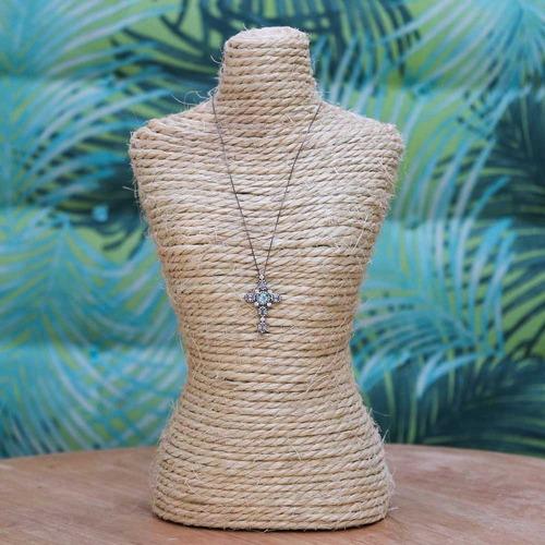 colar ródio negro cruz aquamarine e zircônia branca cl020060