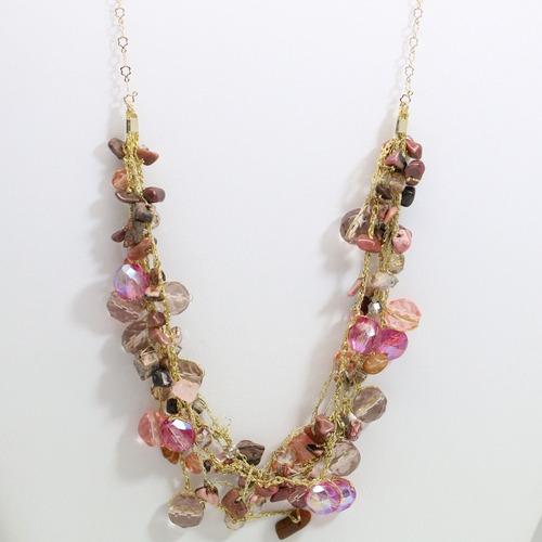 colar semijoias crochê ouro18k + pedra jaspe rosa + cristais