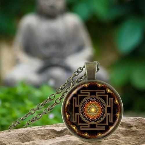 colar sri yantra pingente corrente  prosperidade e sabedoria