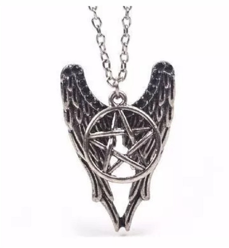 colar supernatural castiel asas e pentagrama pronta entrega