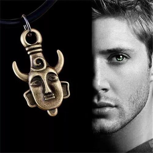 colar supernatural dean amuleto dupla face barato prateado