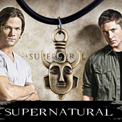 colar supernatural dean winchester - amuleto dupla face
