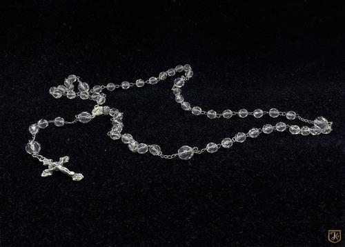 colar terço cristal branco 06mm