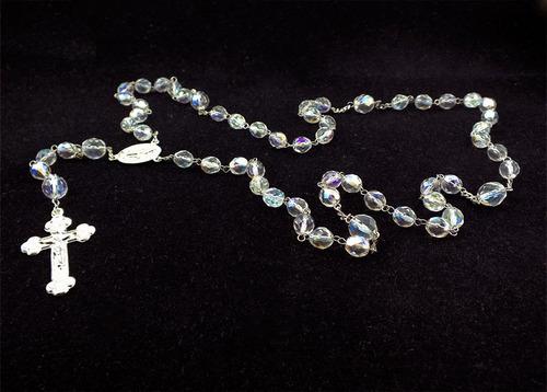 colar terço cristal branco furta cor 08mm