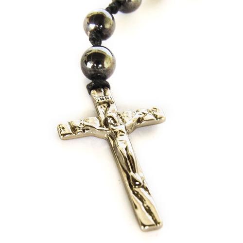 colar terço de pedra hematita com crucifixo