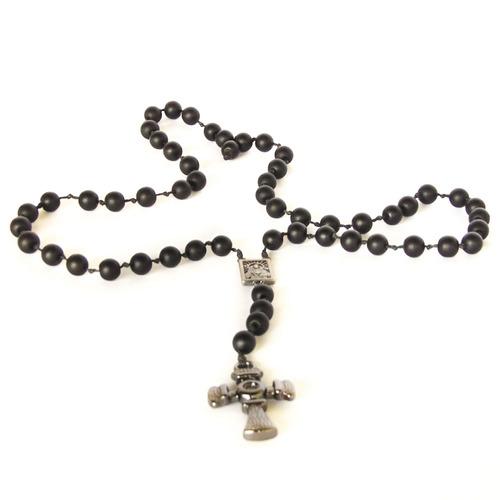 colar terço de pedra polonesa com crucifixo