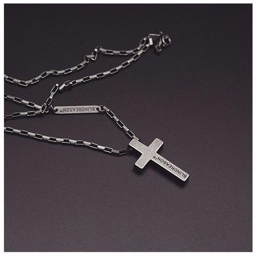colar terço masculino corrente cordao crucifixo em aço terço