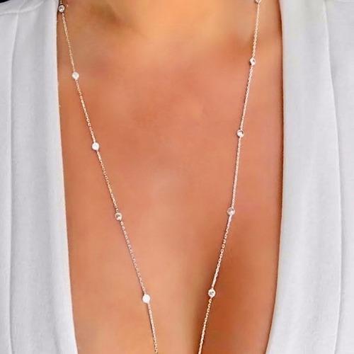 colar tiffany inspired longo riviera zirconia dourado e graf