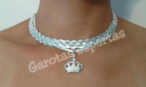 colar trançado 5 fios kit coroa banhado folheado à prata 925