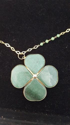 colar trevo pedras naturais verde semi-joia banhada ouro 18k