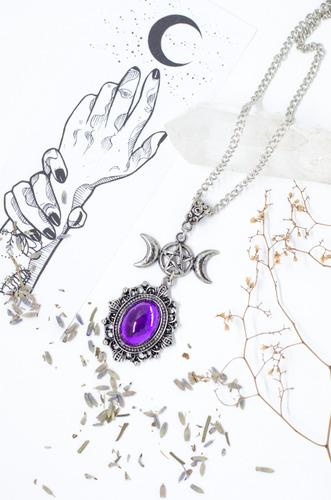 colar triluna mistica camafeu lilás bruxa wicca
