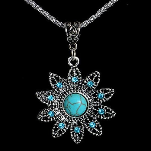 colar turquesa tibetano vintage flor azul