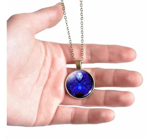 colar unissex cabochão místico 12 signos zodíaco horóscopo