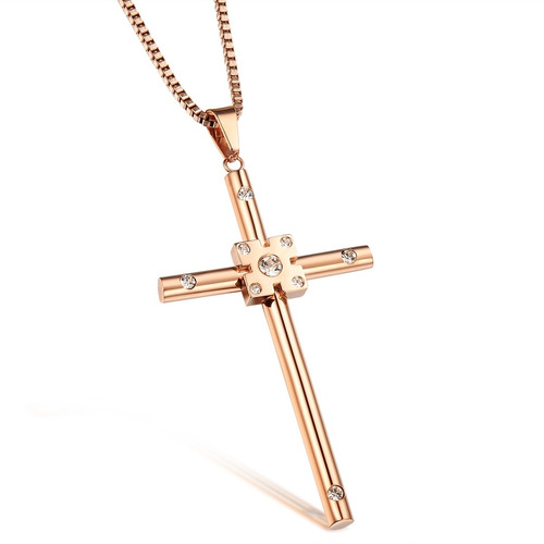 colar unissex semijoia ouro rose cordão + pingente crucifixo